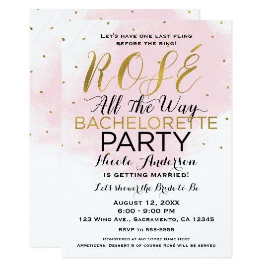 Tarjeta Rosa y oro del fiesta de Rosé hasta el final