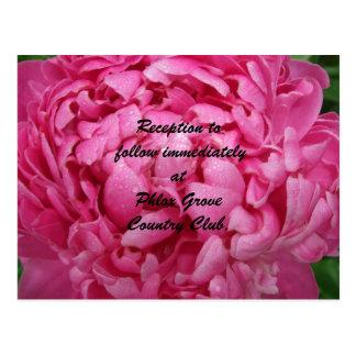 Tarjeta rosada brillante de la recepción nupcial d postales