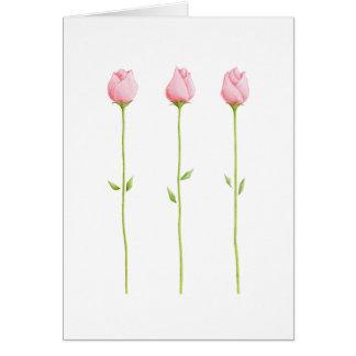 Tarjeta rosada de 3 capullos de rosa
