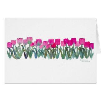 Tarjeta rosada de la arboleda del tulipán