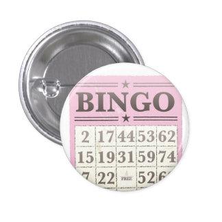 Tarjeta rosada de la cuenta del bingo chapa redonda de 2,5 cm