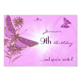 Tarjeta rosada de la invitación de RSVP de la