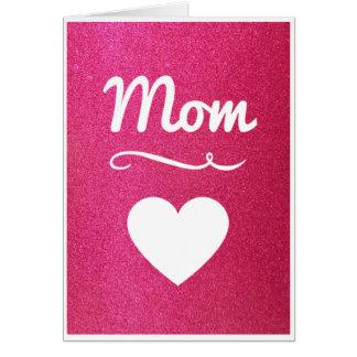 Tarjeta rosada de la mamá del corazón del brillo