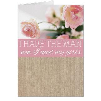 Tarjeta rosada de la petición de la dama de honor