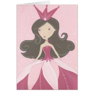 Tarjeta rosada de la princesa cumpleaños
