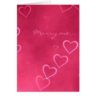 Tarjeta rosada de la propuesta de matrimonio de
