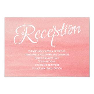Tarjeta rosada de la recepción nupcial de la invitación 8,9 x 12,7 cm