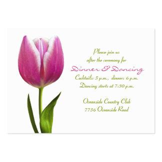 Tarjeta rosada de la recepción nupcial del tulipán tarjetas de visita grandes