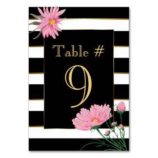 Tarjeta rosada de la tabla de las margaritas de