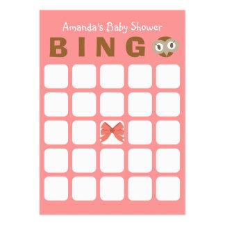 Tarjeta rosada del bingo de la fiesta de tarjetas de visita grandes