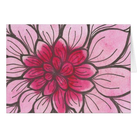 Tarjeta rosada del crisantemo de Ombre con el