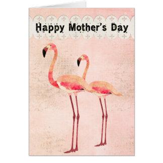 Tarjeta rosada del día de madre del flamenco