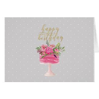 Tarjeta rosada del feliz cumpleaños de la torta