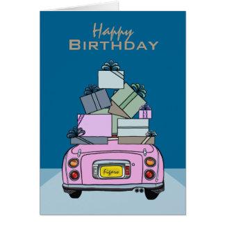Tarjeta rosada del feliz cumpleaños del coche de