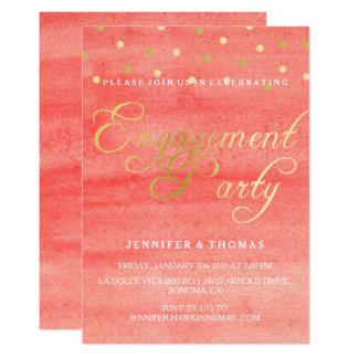 Tarjeta rosada del fiesta de compromiso de la invitación 12,7 x 17,8 cm