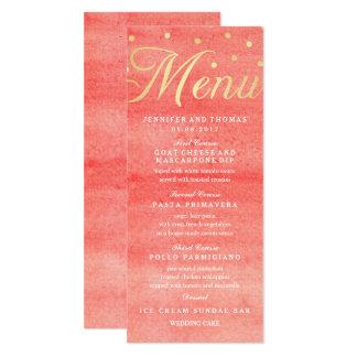 Tarjeta rosada del menú del boda de la textura de invitación 10,1 x 23,5 cm