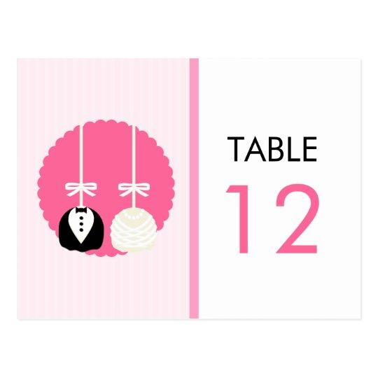 Tarjeta rosada del número de la tabla del