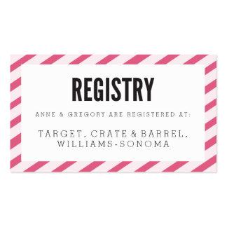 Tarjeta rosada del parte movible del registro de tarjetas de visita