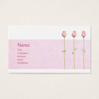 Tarjeta rosada del perfil de 3 capullos de rosa