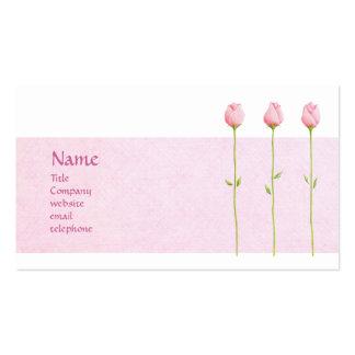 Tarjeta rosada del perfil de 3 capullos de rosa plantillas de tarjeta de negocio