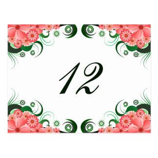 Tarjeta rosada floral del número de la tabla de la