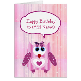 Tarjeta rosada personalizada del feliz cumpleaños