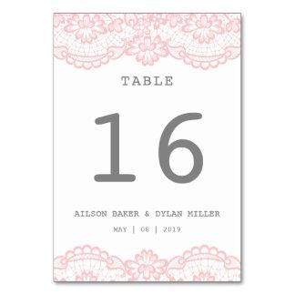 Tarjeta rosada romántica de la tabla del boda del