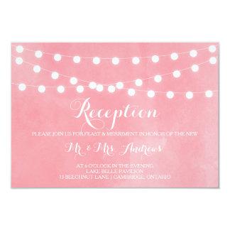 Tarjeta rosada rústica blanca de la recepción de invitación 8,9 x 12,7 cm