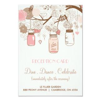Tarjeta rosada rústica de la recepción de los invitación 8,9 x 12,7 cm
