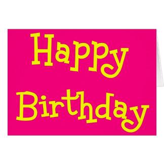 Tarjeta rosada   y amarilla del feliz cumpleaños