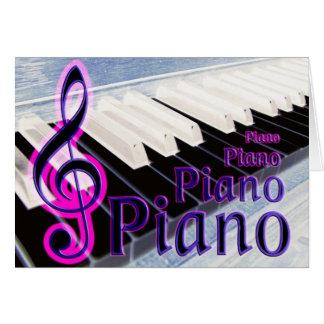 Tarjeta rosada y azul del piano