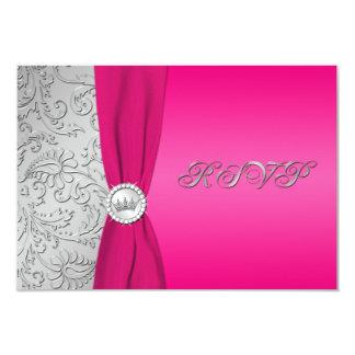 Tarjeta rosada y de plata de Quinceanera RSVP del Invitación 8,9 X 12,7 Cm