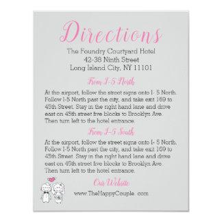 Tarjeta rosada y gris de las direcciones de la