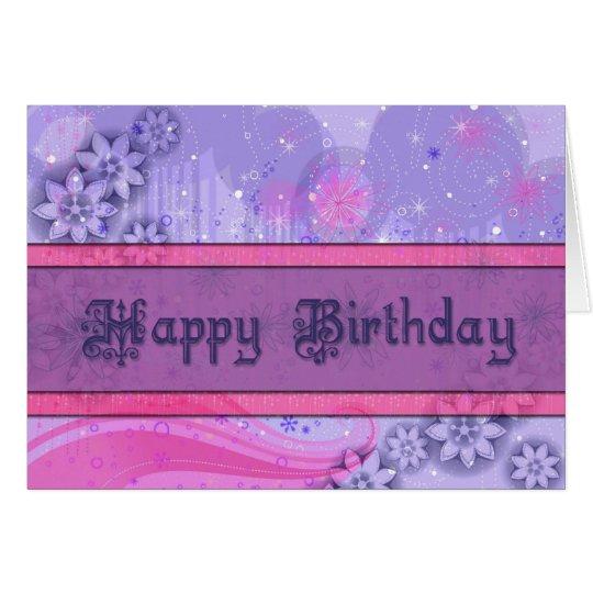 Tarjeta rosada y púrpura elegante del feliz