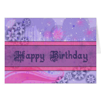 Tarjeta rosada y púrpura elegante del feliz cumple