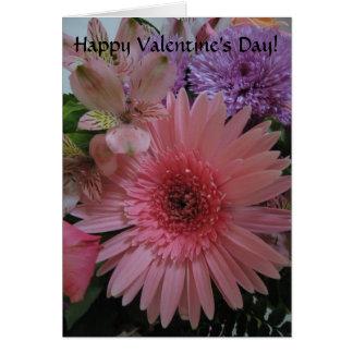 Tarjeta Rosado hermoso y la púrpura florece el día de San