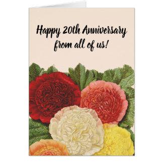 Tarjeta Rosas amarillos rosados blancos rojos del vintage