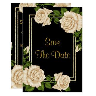 Tarjeta Rosas de marfil elegantes y reserva del brillo del
