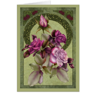 Tarjeta Rosas de Nouveau del arte