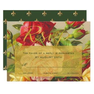 Tarjeta Rosas elegantes del vintage del marco de oro que
