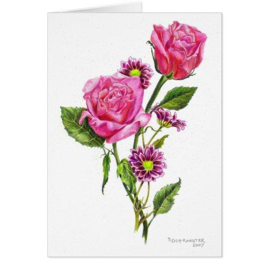 Tarjeta Rosas en lápiz coloreado