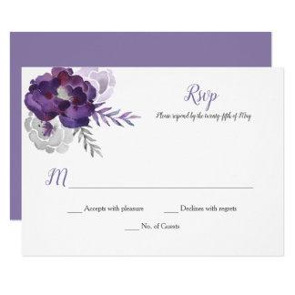 Tarjeta Rosas púrpuras RSVP de la acuarela de los gris