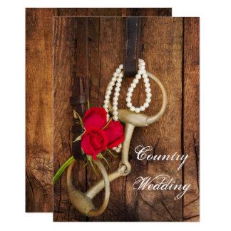 Tarjeta Rosas rojos, pedazo del caballo y boda de madera