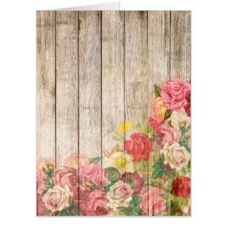 Tarjeta Rosas románticos rústicos del vintage de madera