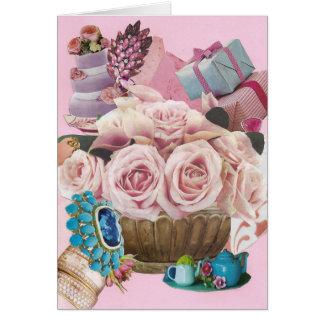Tarjeta Rosas rosados de la col con turquesa