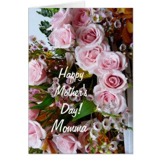 Tarjeta Rosas rosados del Day-Momma/de la madre feliz