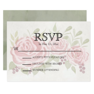 Tarjeta Rosas rosados del vintage que casan RSVP