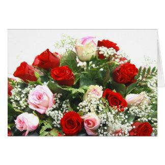 Tarjeta Rosas rosados y rojos
