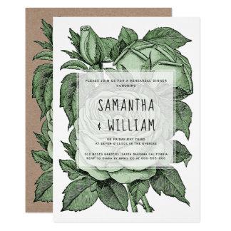 Tarjeta Rosas verdes antiguos que casan la cena del ensayo