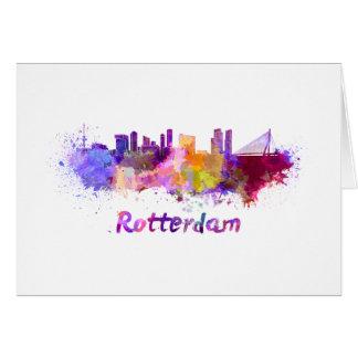 Tarjeta Rotterdam skyline in watercolor